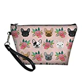 PZZ BEACH French Bulldog Floral Cosmetic Bag Travel Makeup Zipper Toiletry Pouch Organizer for Women Girls Gifts