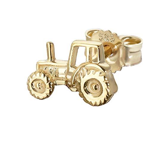 NKlaus único motor de tracción del tractor 585 oro amarillo de 14 quilates pendientes de oro de los hombres de 8 * 5 mm 4839