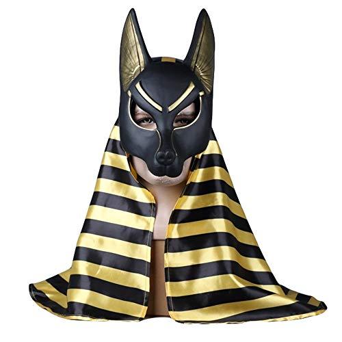 Hope Máscara plástica de Anubis de la Muerte Cosplay Disfraces Fiesta de Baile de máscaras de Halloween Máscaras del Partido un tamaño para 55-62 cm,B-OneSize