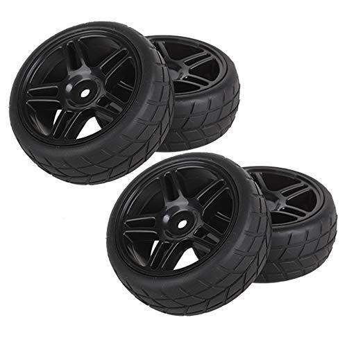BQLZR Durable Rubber Hub Wheel Rim&Tires 1:10 On-Road Racing Car RC Pack of 4 (20111)