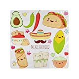 RAUP Satin Napkins Set of 6, Set Cute Mexican Food Stickers Kawaii,Square Printed Party & Dinner Cloth Napkins,20' X 20'