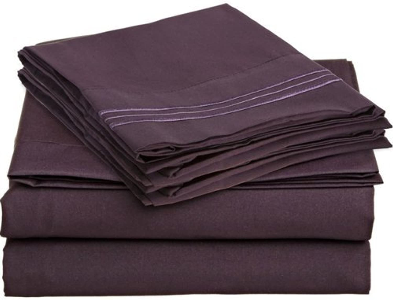 Royal Collection 1900 King Size Thread Count Bamboo Quality Bed Sheet Set Fitted, 1 King Flat and 2 King Pillow Case.Wrinkle Free Shrinkage Free Fabric, Deep Pockets (King Size, Plum Purple)