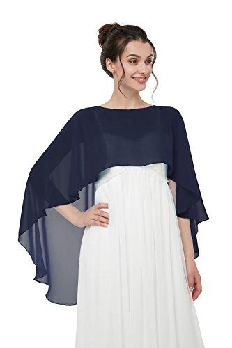 Auxico Auxico Chiffon Stola Schal für Kleider in verschiedenen Farben perfekt zu jedem Brautkleid Abendkleid, Hochzeit Abend Gala (Navy, one size)