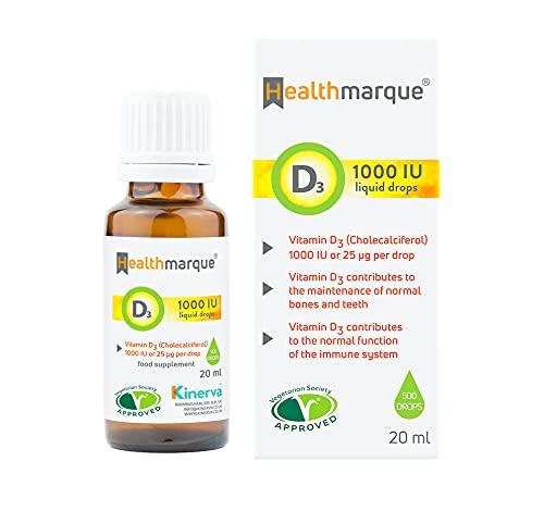 Vitamin D3 Liquid Drops 1000 IU | Pure VIT D Liquid in Olive Oil by Healthmarque; Premium Natural D3