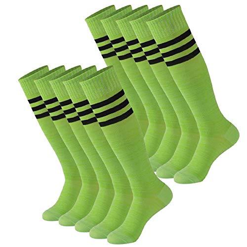 Calbom gestreifte Tube Socken, Unisex, Kniehoch, Fußball Volleyball Baseball Cheerleading Team Socken 2/6/10 Paar - Grün - 10-13