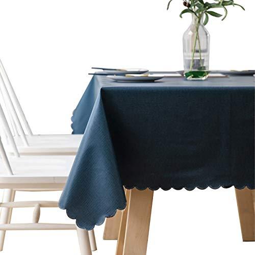Tovaglia rettangolare in PVC, facile da pulire, lavabile, in vinile, impermeabile, per sala da pranzo, feste, giardino, 140 x 140 cm, blu scuro