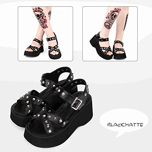 DJDLNK Sandalias Góticas De Verano De Lolita Zapatos De Plataforma con Tachuelas De Punta Abierta