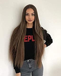 Full Shine 24 Inch Long Wigs Brown Hair Color #4 Front Lace Wigs Real Human Hair Wigs Straight Hair Lace Front Wig 150% Density Human Wigs