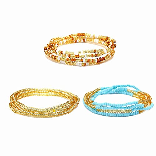 3PcsBohemiaWaist BeadChains Belly ColorfulElasticBead Chain for Weight Loss Fashion Charm Body Bead Chains Jewelry Gifts for Women Grils-Style A