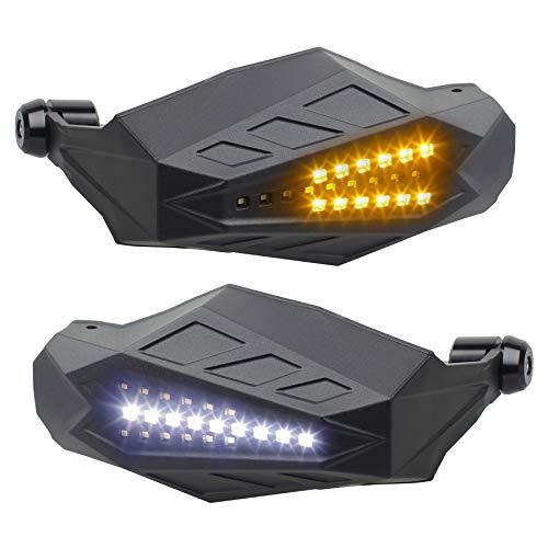 NTHREEAUTO LED Turn Signals Handguards Universal Motorcycle Hand Guards Wind Protector Compatible with Dirt Bike ATV Honda CR125R Yamaha YZ125 Kawasaki KX250 Suzuki RM125