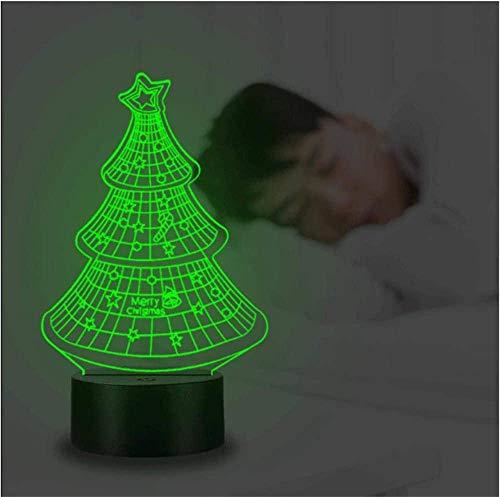 Árbol de Navidad 3D ilusión holograma noche lámpara USB alimentado 16 colores intermitente interruptor táctil dormitorio decoración iluminación para niños regalo de Navidad