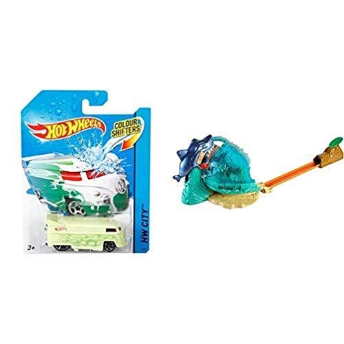 Hot Wheels Vehículos Color Shifters, Coches de Juguete + Tiburón Megadestrucción, Pista de Coches de Juguete