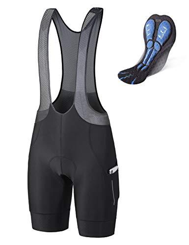 BALEAF Men's Cycling Bib Shorts 4D Padded Road Bike Shorts Biking Tights Pockets Breathable UPF50+ Black XL