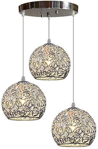Vinteen E27 Decoración Colgante Luces Moderno Industrial Aluminio Hueco Alambre Cause Araña LED Creativo Global Cocina Isla Colgante Lámpara Bola Forma Bar Comedor Lámpara Colgante Lámpara Ajustable L