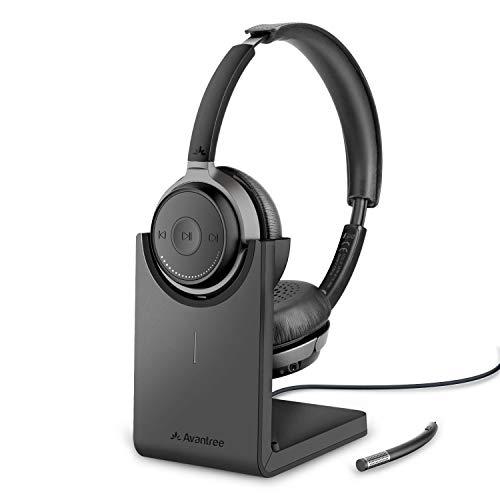 Avantree Alto Clair Bluetooth 5.0 Kopfhörer mit Abnehmbaren Mikro & Ladeständer, aptX HD Kabelloses Headset für PC Computer, Low Latency, Herausragender Sound für Musik, Skype, Anrufe, TV, Handys