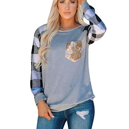 LILIHOT Damenmode Patchwork Langarmshirts V-Ausschnitt T-Shirt Leoparden Muster Bluse Casual Lose Shirt Oberteile Herbst Sweatshirt Oberteile Langarm Pullover