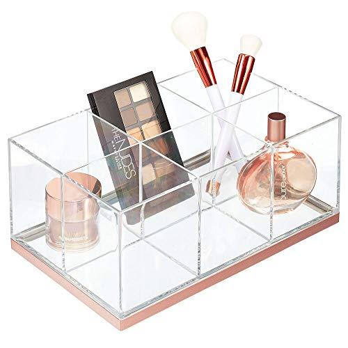 mDesign - Make-up organizer met 6 compartimenten - make-up opberger/houder - voor lippenstift/nagellak/mascara en meer - voor badkamer en kaptafel - plastic - doorzichtig/roségoud