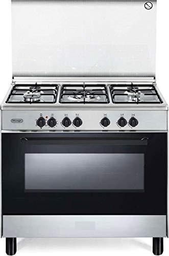 De Longhi FMX 96 ED - Cucina a gas con forno elettrico multifunzione, 5 Bruciatori, 90x60 cm