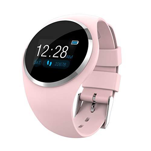 UKCOCO Reloj inteligente Bluetooth, monitorización del sueño con ritmo cardíaco resistente al agua, cuenta de pasos Rastreador deportivo de ejercicios Smartwatch para teléfono Android IOS (Rosado)