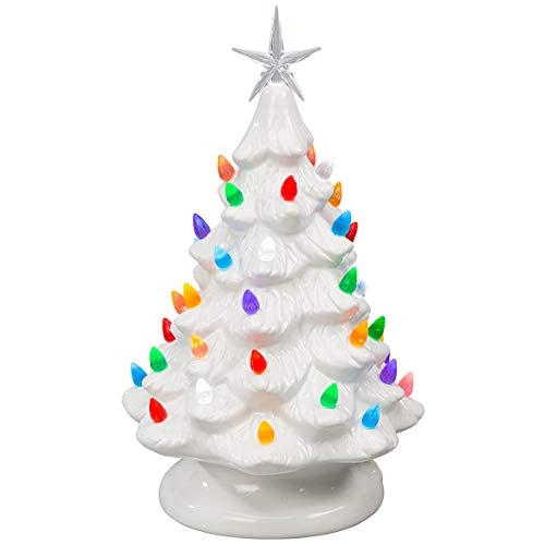 HOLIDAY PEAK Battery-Operated Vintage-Style Ceramic Christmas Tree, Nostalgic Holiday Décor, White, 13' High