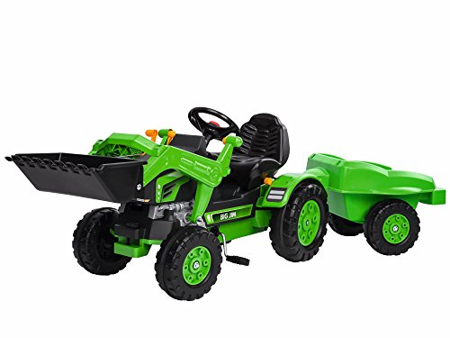 BIG - Jim Loader - Trettraktor mit Anhänger, Trailer verfügt über Tragkraft von bis zu 25 kg, Schaufel bis zu 3 kg belastbar, Traktor für Kinder ab 3 Jahren