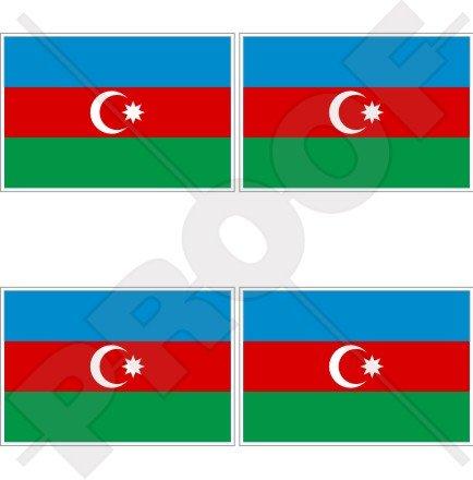 Azerbaïdjan Drapeau Azerbaïdjanais 5,1 cm (50 mm) bumper-helmet en vinyle autocollants, Stickers x4