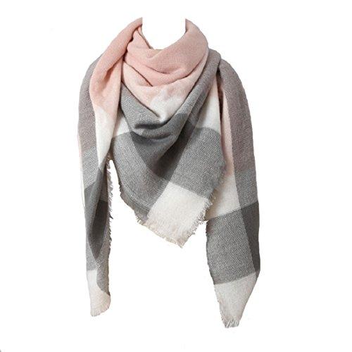 MAKFORT Damen Winter Schal Imitation Kaschmir Bunt Quadratisch Deckenschal 140 * 140cm Rosa