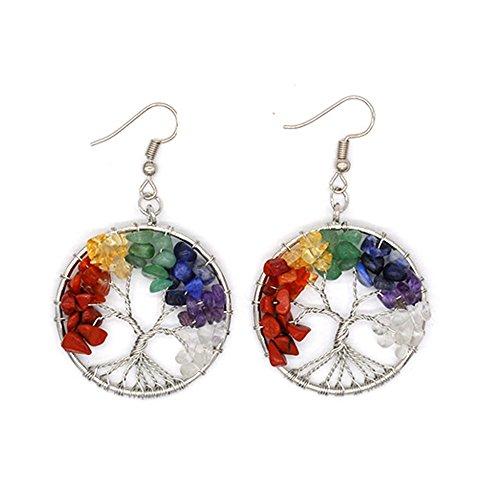 aiuin Silber Stein Regenbogen Ohrringe für Mujere Baum des Lebens Ohrringe 1Paar Ohrringe mit einer Handtasche schöne Taste (Schmuck), Damen, Design 1