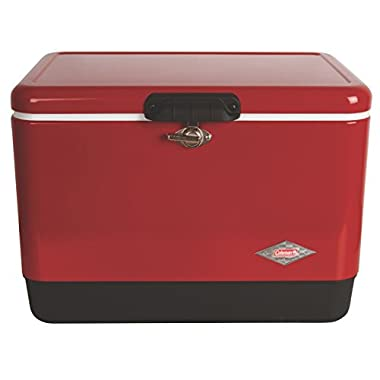 Coleman Steel-Belted Portable Cooler, 54 Quart, Red
