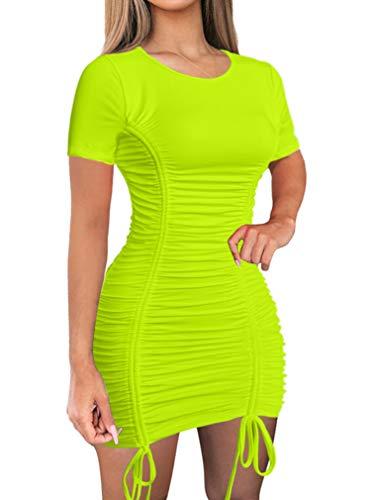 LAGSHIAN Women Sexy Summer Club Ruched Short Sleeve Drawstring Mini Bodycon Dress Fluorescentgreen