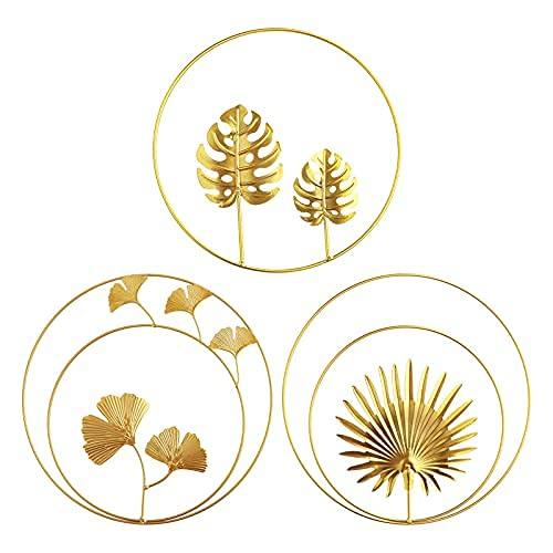 DriSubt Juego de 3 espejos de pared dorados para sala de estar, espejos redondos, decoración del hogar, decoración de pared, accesorios para el hogar (3 unidades)