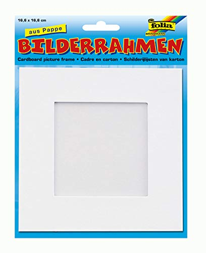 folia 2334 - Bilderrahmen aus Pappe, quadratisch, ca. 16,6 x 16,6 cm, blanko weiß - zum Selbstgestalten