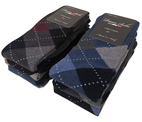 DREAM SOCKS 6 PAIA di calze calzini UOMO LUNGHE caldo cotone elasticizzate,100% Made in Italy,vari assortimenti (41/46, set.scozzese)