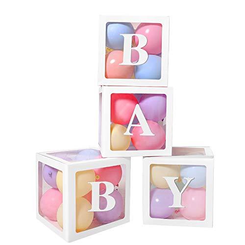 Termichy Transparente Luftballon-Box 4 Stück/Set für Babyparty (Weiß)