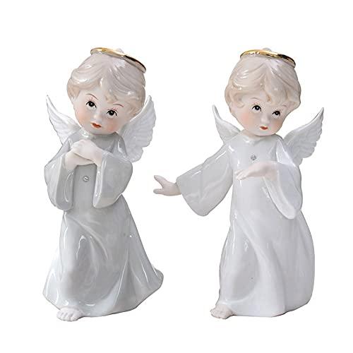 ZSQZJJ Modernos Estatuas Figuritas Adornos de Interior Estatuas Decorativas,Ángel con alas Encantadora pequeña Escultura de ángel de cerámica decoración del hogar estatuilla de habitación de Boda