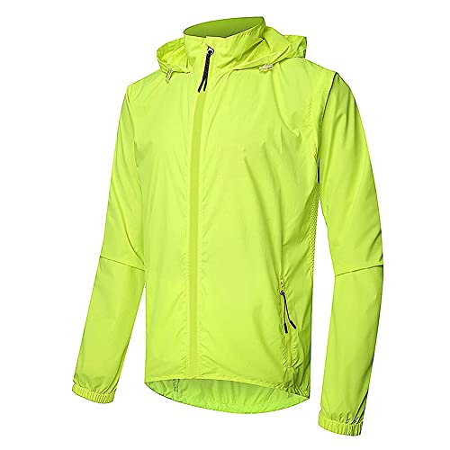 Chaqueta De Ciclismo para Hombre Coat Reflective Cycling Jacket con Capucha Sports Clothe,Verde,XL