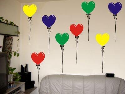 Wandtattoo / Wandaufkleber Bunte Luftballons in Herzform