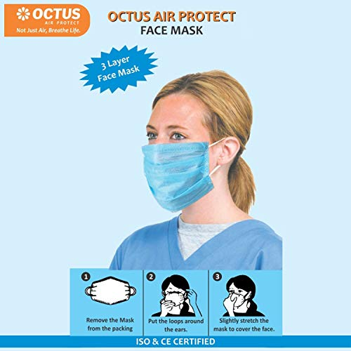 OCTUS Disposable 3-Layer Face Mask/3-Ply Anti-Dust Mask/Anti-Pollution Mask With Earloop (Blue, Pack of 10)