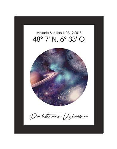 Personalisiertes Wandbild/Sternenkarte/Universum/Jahrestag/Koordianten/Geschenk Hochzeit/Einweihungsgeschenk/DIN A 4, ohne Bilderrahmen