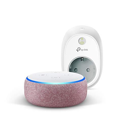 Echo Dot (3.ª generación), tela de color malva +TP-Link HS100 Enchufe inteligente, compatible con Alexa