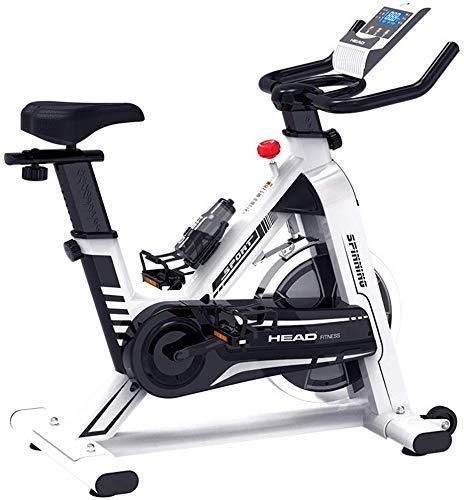 SXTYRL - Bicicleta estática para interiores con pantalla LCD, frecuencia cardíaca ajustable para el pie