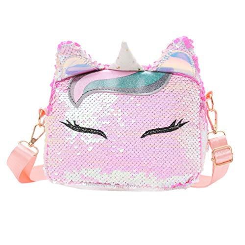 VALICLUD Bolso cruzado reversible de unicornio, bolso de lentejuelas con purpurina de sirena, bolso de Hombro brillante, bolso de mano brillante para mujer y niña