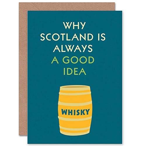 Wee Blue Coo Typograaf Schilderen Whisky Goed Idee Schotland Kunst Verzegelde Wenskaart Plus Envelop Blank binnen