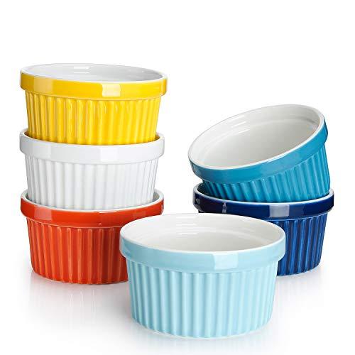 Sweese 501.002 6er Set Soufflé Förmchen, 180 ml, Creme Brulee Formen aus Porzellan, Förmchen für Muffins, Cupcakes, Bunte Serie