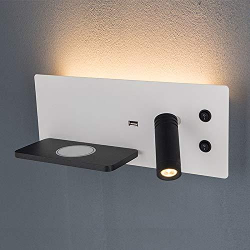 QEGY LED Lámpara de Pared Moderna con Luz de Lectura y Interruptor, Aplique de Pared Puerto USB y Cargador QI InaláMbrico, para Sala de Estar Oficina Salón Iluminación, Blanco Cálido