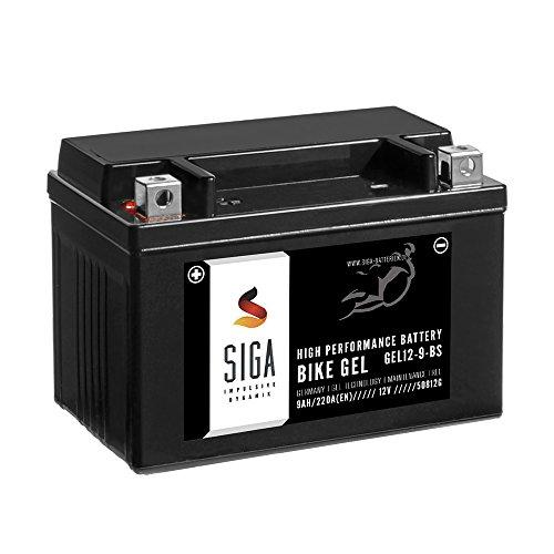 SIGA Gel Motorradbatterie 12V 9Ah 220A/EN Gel Batterie YTX9-BS GEL12-9-BS YTX9-4 GTX9-BS ETX-9-BS 50812