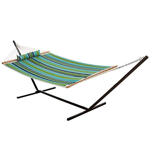 Castaway Hammocks 2 Person Quilted Hammock with Patented KD Space Saving Stand and Detachable Pillow, Compact Design, Heavy Duty Construction, Perfect for Any Backyard Space - Blue/Green Stripe