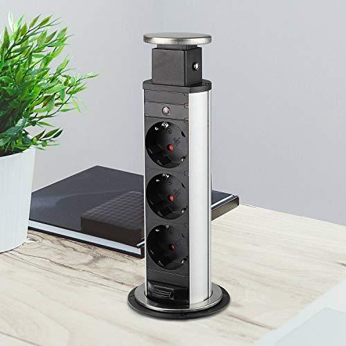 Versenkbare Steckdose für Küche und Büro – Tischsteckdose aus hochwertigem Kunststoff mit drei Steckdosenelementen – ca. 170cm langes Anschlusskabel | 3x Schuko