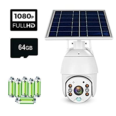 TECH EYE ready to use Outdoor Home Security Camera Solar Panel 1080P Night Vision PIR Motion Detection Two-Way Audio Cloud/SD Card Storage (6 batteries 1 64 GB memory card, 1 battery charger included)