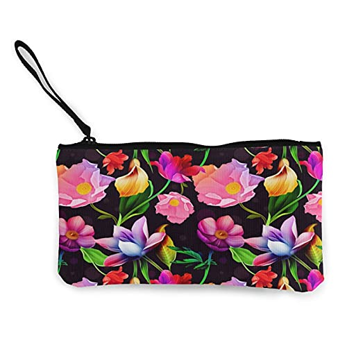 Canvas Coin,Artistic Flower Purse Zippered Travel Cosmetics Bag Multi-Function Makeup Bags Cellphone Bag Holder Bags Pencil Packet with Handle
